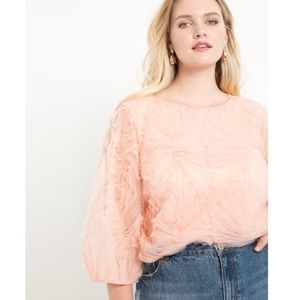 Eloquii Tulle Puff Sleeve Top Peach Pink Floral